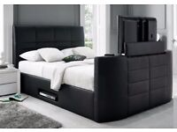 : TV BED ELECTRIC DOUBLE BLACK LEATHER NEW TV BED - GREAT OFFER