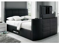 TV BED ELECTRIC DOUBLE BLACK LEATHER NEW TV BED - GREAT OFFER