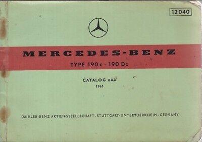 MERCEDES BENZ W110 190c & 190Dc ORIGINAL 1961 FACTORY PICTORIAL PARTS CATALOGUE