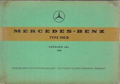 MERCEDES BENZ W121 190D SALOON ORIGINAL 1958 FACTORY PICTORIAL PARTS CATALOGUE