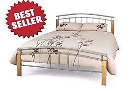 Metal Bed Frame 4FT6 Double Silver