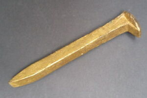 Vintage Gold-Painted Iron Railroad Tie Nail Spike
