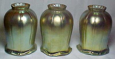 "GOLD TULIP ART GLASS LIGHTING SHADES, SET OF 3, 2 1/4"" FITTER~~"