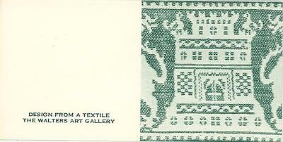 WALTERS ART GALLERY REPRO CASTLE TEXTILE DESIGN TINY MINIATURE GREEN ART PRINT