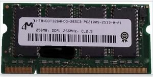 2x 256 MB SO-DIMM DDR SD-RAM, PC2100S, 266 MHz, 200 pin