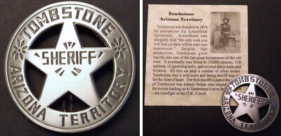 Old West Sheriff (Tombstone Arizona Territory Sheriff Badge, round, silver, old west,)