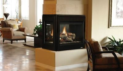 "Superior 40"" DV Peninsula Electric Fireplace w/Black Interior - NG"