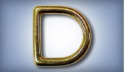 """20ea 1/2"""" x 2.5mm Thick Solid Brass D-Rings 452B"""
