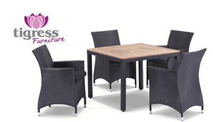 Teak Square Dining Table + 4 Chairs Patio Wicker Outdoor Charcoal Maroubra Eastern Suburbs Preview