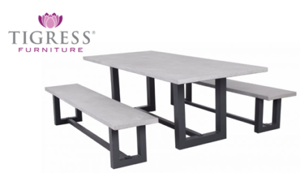 Geo 3 Piece 220cm Outdoor Industrial Dining Table Bench Seat Set