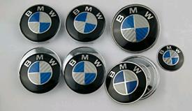 BMW CARBON BLUE CAPS / BONNET / BOOT 7pc SET