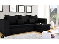NEW corner sofa bed in black with storage, FREE DELIVERY.