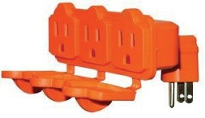 (100) KAB-3FLU-ORG  Heavy Duty 3 Way Orange Outdoor Electrical Outlet Adapters