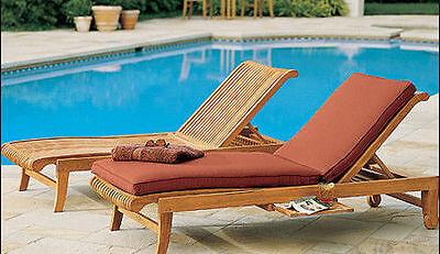 Giva A-Grade Teak Outdoor Garden Patio Steamer Chaise Sun Lounger Furniture ()