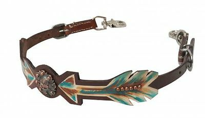 Teal Brown Arrows Praying Cowboy Concho Leather Saddle Wither Strap BarrelRacing