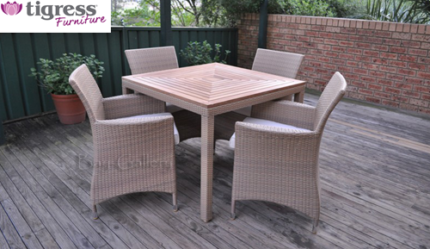 Bali 4, 5 Piece Outdoor Teak Top Dining Package With Wicker Chair Part 10
