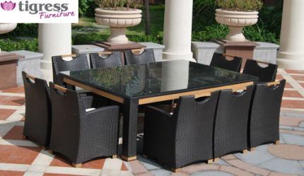 Attractive Bahamas 230cm X 160cm 10 Seater Outdoor Wicker 11 Piece Table Set Part 13