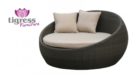 Perfect Stunning Outdoor Wicker Round Cane Day Bed Chestnut Brown Part 27