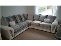 Scs Velvet corner sofa with FREE FOOTSTOOL