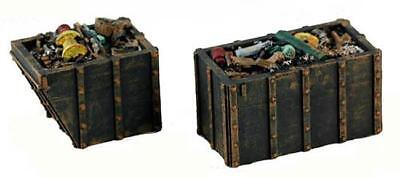 Dumpsters LOADED with trash set of 2  comes Painted for you N Scale
