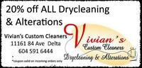 20% off all Drycleaning & Alterations/Tailoring/Seamstress/Repai
