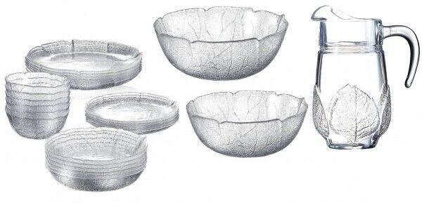 Serie Aspen Glasschalen / Glasteller in versch. Größen Blattdekor