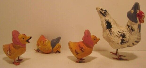 Old 1920s 4 PC German Composition Easter Chick Family in Bonnets w/ metal feet