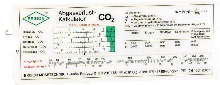 Brigon Kalkulator Abgasverlust CO² und O² Abgasverlustkalkulator Heizung Abgas