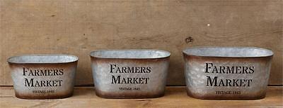 New Primitive Rustic Chic Set of 3 FARMERS MARKET BUCKET Metal Basket Bins
