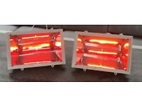 Two electric halogen marquee patio heaters 1KW