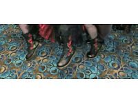 Dr Marten 14 Hole Black with Roses - Slightly Worn but still in great condition Size 6