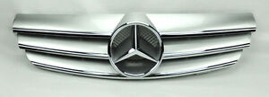 3 Fence Front Hood Sport Silver Grill Grille for Mercedes CLK W209 03-09