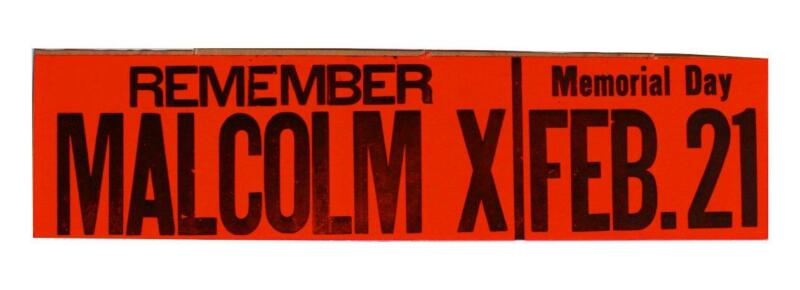 Malcolm X Memorial Day Bumper Sticker Detroit 1960s