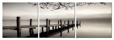 (Modern Canvas Print Photo Poster Black White Landscape Bridge Lake 3PCS Framed)