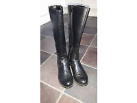 Black Leather Ladies Boots size 38 worn twice