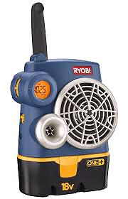 Ryobi 18 volt radio w aux. Input for MP3 players or iphones.