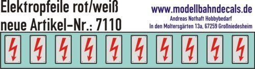 10 Gauge 1 Elektropfeile 0 9/32x0 5/32in Red On White Sign 032-7110