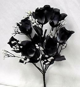 7 BLACK WHITE TWO TONES Silk Rose Bud Wedding Bouquet Flowers NO DEW