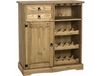 New Solid Corona Mexican Pine Sideboard Wine Rack Only £129