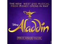 3 tickets - Aladdin The Musical at the Prince Edward Theatre London Thursday 22nd September 19.30
