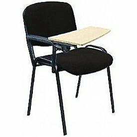 Black Frame Conference Chairs With Removerable Wooden Writing Tablet