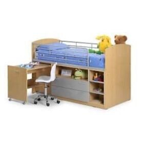 Mid sleeper with drawers and desk