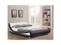 ENZO Modern Curved Designer Bed Small Double with luxurious 25cm thick memory foam mattress