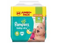 BRAND NEW UN-OPENED PAMPERS BABY DRY NAPPIES SIZE 6 (64 nappies)