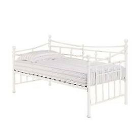 White metal day bed frame