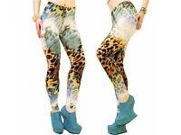 HOMECITYSHOP Golden Snake, Camouflage, Faux leather, Tiger Print Leggings For Women Ladies Girls