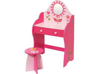 Brand new girls wooden pink dressing and stool