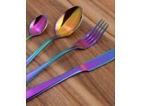 Rainbow holographic irredecent cutlery 16 piece