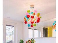 For Sale: Beautiful glass pendant light, halogen