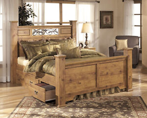 Pine Bed with Storage Drawers